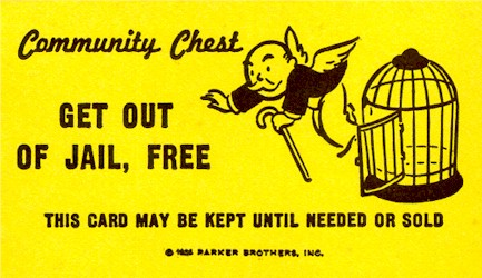 Free Card: Monopoly Get Out Of Jail Free Card