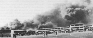 Burning Depot and Barracks Hickam Field 7 December 1941