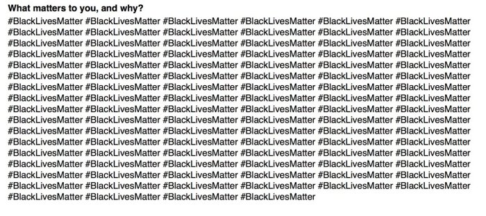 "student is admitted to stanford essay that simply repeated  asked by stanford university to respond to ""what matters to you and why "" his answer was to repeat the expression blacklivesmatter"" 100 times he got in"